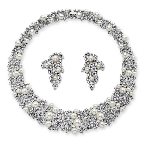 """Silver Tone Collar Necklace (23mm), Round Simulated Pearls, 16"""""""