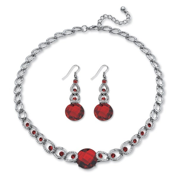 Checkerboard-Cut Birthstone Necklace and Earrings Set in Silvertone Color Fun. Opens flyout.