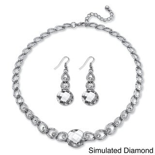 Checkerboard-Cut Birthstone Necklace and Earrings Set in Silvertone Color Fun