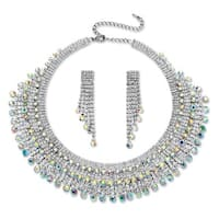Round Aurora Borealis Crystal Fringe Design Necklace and Earrings Set in Rhodium-Plated Fi