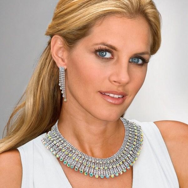 Round Aurora Borealis Crystal Fringe Design Jewelry Set