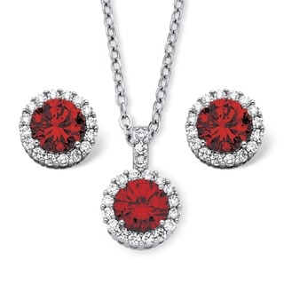 PalmBeach 4.30 TCW Round Birthstone Cubic Zirconia Halo Necklace and Earrings Set in Silvertone Color Fun
