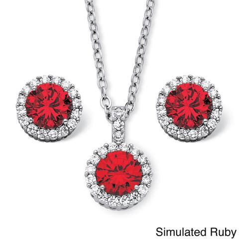 4.30 TCW Round Birthstone Cubic Zirconia Halo Necklace and Earrings Set in Silvertone Colo