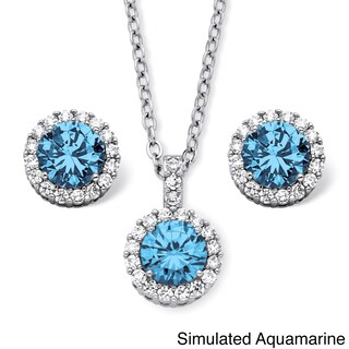 4.30 TCW Round Birthstone Cubic Zirconia Halo Necklace and Earrings Set in Silvertone Colo (More options available)