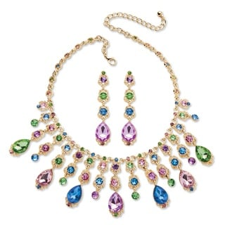 Multicolor Oval Crystal Necklace and Earrings Jewelry Set in Gold Tone Color Fun