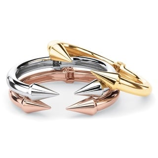 "PalmBeach Open Arrow 3-Piece Set of Cuff Bracelets in Gold Tone, Silvertone and Rose Gold Tone 8"" Bold Fashion"