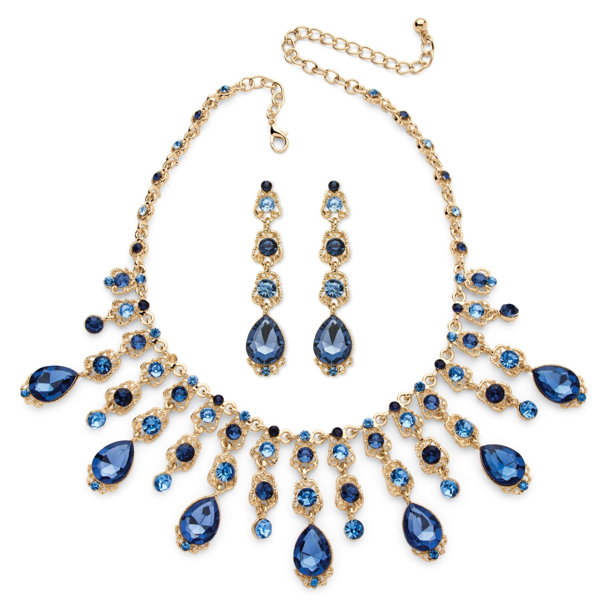 Palm Beach Color Fun Goldtone Blue Crystal Necklace and E...