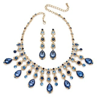 PalmBeach Color Fun Goldtone Blue Crystal Necklace and Earrings Set
