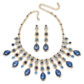 Color Fun Goldtone Blue Crystal Necklace and Earrings Set