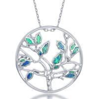 La Preciosa Sterling Silver Created Blue Opal Tree of Life Pendant