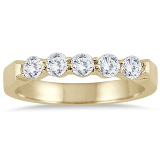 Marquee Jewels 10k Yellow Gold 1/2ct TDW Prong 5-stone Diamond Band