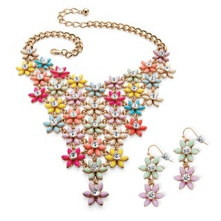 Multicolor Lucite and Crystal Flower Necklace and Earrings Set in Gold Tone Color Fun