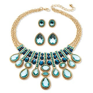 PalmBeach Multi-Shape Aquamarine and Blue Crystal Three-Piece Necklace and Earrings Set in Gold Tone Color Fun