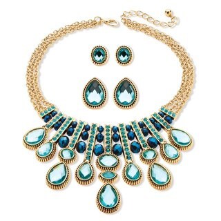 Multi-Shape Aquamarine and Blue Crystal Three-Piece Necklace and Earrings Set in Gold Tone