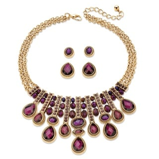 "PalmBeach Pear-Cut and Oval Simulated Amethyst Necklace and 2-Pair Stud Earrings Set in Gold Tone 18""-22"" Bold Fashion"