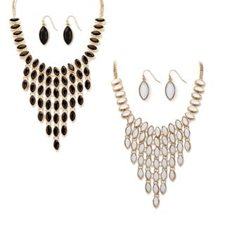 Black and White Simulated Crystal Three-Piece Reversible Necklace and Earrings Set in Gold
