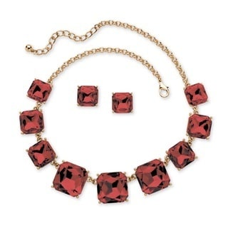 Princess-Cut Birthstone Crystal 2-Piece Necklace and Earrings Set in Gold Tone Color Fun