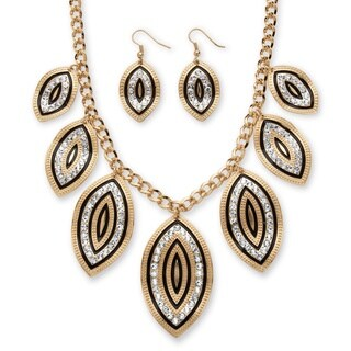 Crystal and Black Enamel Leaf Motif Necklace and Earrings Set in Gold Tone Bold Fashion