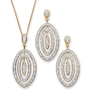 PalmBeach 1.54 TCW Pave Cubic Zirconia Concentric Oval Two-Piece Necklace and Earrings Set 18k Gold-Plated Bold Fashion