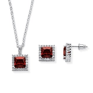 PalmBeach .30 TCW Princess-Cut Simulated Birthstone Halo Pendant Necklace and Earrings Set in Silvertone Color Fun