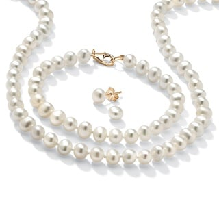 PalmBeach Genuine Cultured Freshwater Pearl Three-Piece Jewelry Set in 14k Gold over .925 Sterling Silver Naturalist