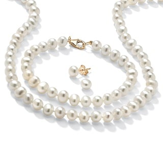 Genuine Cultured Freshwater Pearl Three-Piece Jewelry Set in 14k Gold over .925 Sterling S