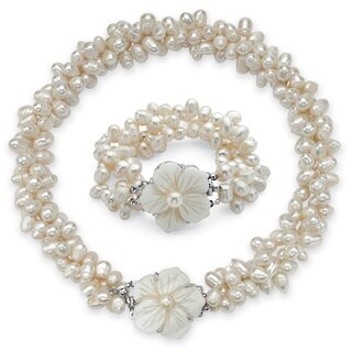 PalmBeach Genuine Cultured Freshwater Pearl Two-Piece Necklace and Bracelet Set in Silvertone Naturalist