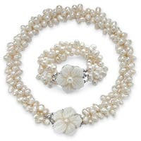 Genuine Cultured Freshwater Pearl Two-Piece Necklace and Bracelet Set in Silvertone Natura