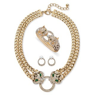 PalmBeach Pave Crystal Leopard Three-Piece Necklace, Earrings and Bangle Set in Gold Tone Bold Fashion