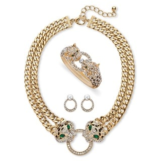 Link to Pave Crystal Leopard Three-Piece Necklace, Earrings and Bangle Set in Gold Tone Bold Fashi Similar Items in Jewelry Sets