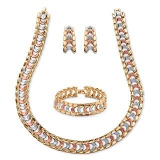 Tricolor Overlay Interlocking Snake-Link 3-piece Jewelry Set Tailored