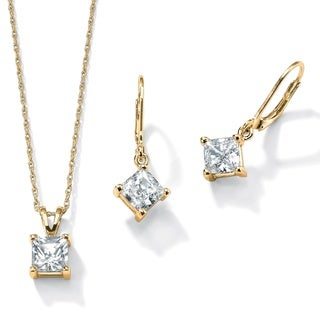 4.80 TCW Princess-Cut Cubic Zirconia 2-Pc. Set in 14k Yellow Gold over .925 Sterling Silve