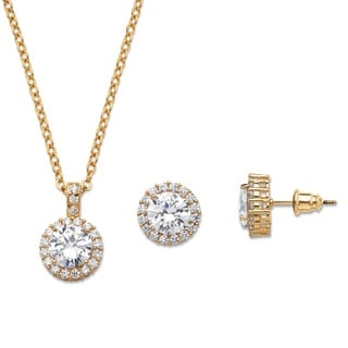 "PalmBeach 4.30 TCW Round Cubic Zirconia Yellow Halo Necklace and Earrings Set in Gold Tone 18"" Classic CZ"