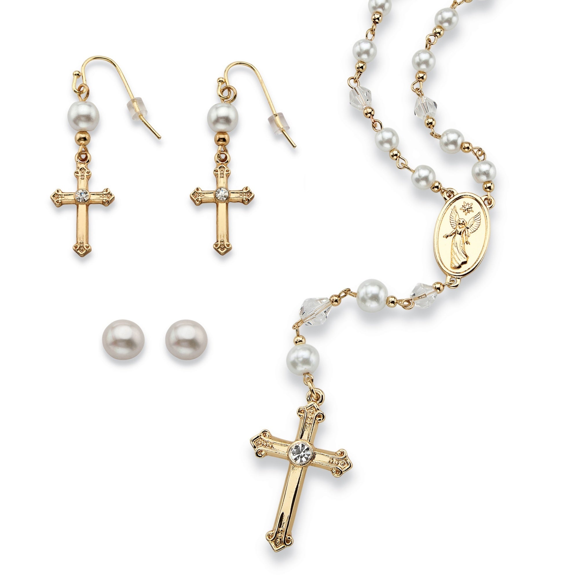 Palm Beach Round Simulated Pearl and Crystal Rosary Neckl...