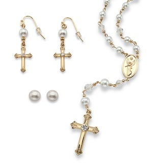 PalmBeach Round Simulated Pearl and Crystal Rosary Necklace and Earrings Set in Gold Tone Naturalist