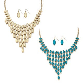PalmBeach Marquise-Cut Simulated Turquoise and Opal 3-Piece Reversible Necklace and Earrings Set in Gold Tone Bold Fashion