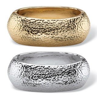 Hammered-Style Two-Piece Hinged Bangle Bracelet Set in Gold Tone and Silvertone Bold Fashi