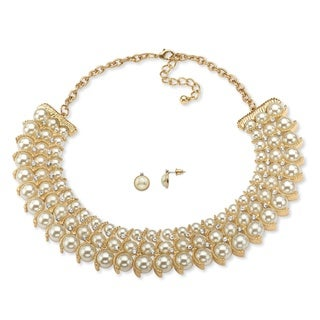 "PalmBeach Simulated Pearl and Crystal Necklace and Stud Earrings Two-Piece Set in Gold Tone 17""-19"" Bold Fashion"