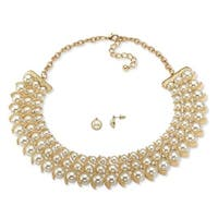 """Simulated Pearl and Crystal Necklace and Stud Earrings Two-Piece Set in Gold Tone 17""""-19"""""""