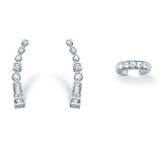 1.20 TCW Cubic Zirconia Ear Climber and Cuff Two-Piece Set in .925 Sterling Silver Bold Fa