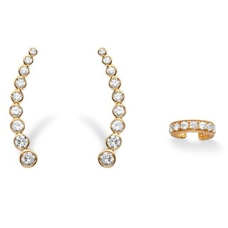 PalmBeach 1.40 TCW Cubic Zirconia Two-Piece Ear Climber and Cuff Set in 14k Gold over Sterling Silver Bold Fashion
