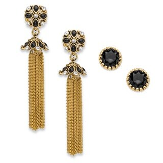"PalmBeach Round Black and White Crystal 2-Pair Floral Motif Stud and Tassel Earrings Set in Gold Tone 3"" Bold Fashion"