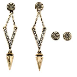 PalmBeach Round Grey Crystal 2-Pair Stud and Open Diamond-Shaped Drop Earrings Set with Golden Charm and Chain Bold Fashion|https://ak1.ostkcdn.com/images/products/11698558/P18622856.jpg?impolicy=medium