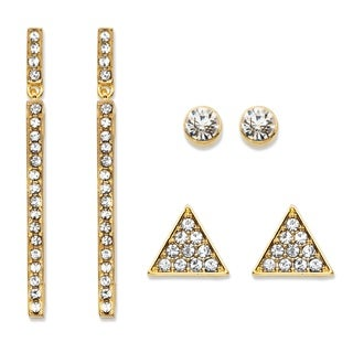 "PalmBeach Triangle, Linear and Round White Crystal 3-Pair Gold Tone Cluster Stud and Drop Earrings Set 1.75"" Bold Fashion"