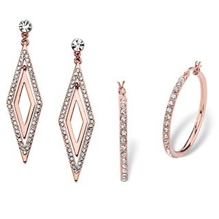 PalmBeach Round White Crystal 2-Pair Hoop and Diamond-Shaped Earrings Set Rose Gold-Plated with Surgical Steel Bold Fashion