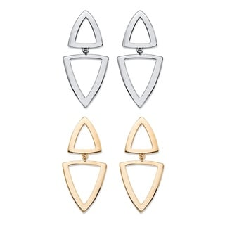 "PalmBeach Double Open Triangle 2-Pair Geometric Drop Earrings Set in Gold Tone and Silvertone 2"" Bold Fashion"