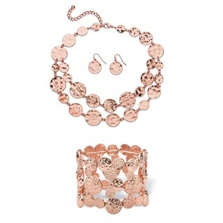 """Hammered Circle Charm 3-Piece Necklace, Earrings and Stretch Bracelet Set in Gold Tone 16"""""""