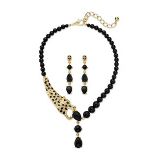 Genuine Black Onyx and Crystal 2-Piece Beaded Leopard Necklace and Drop Earrings Set in Go