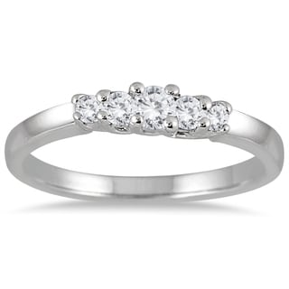 Marquee Jewels 10k White Gold 1/4ct TDW Diamond 5-stone Ring