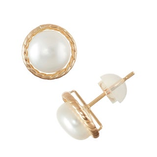 Gioelli 10k Gold 8mm Freshwater Pearl Stud Earrings